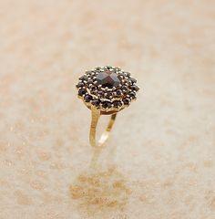 Vintage Garnet Ring  Circular Design by SITFineJewelry on Etsy, $475.00