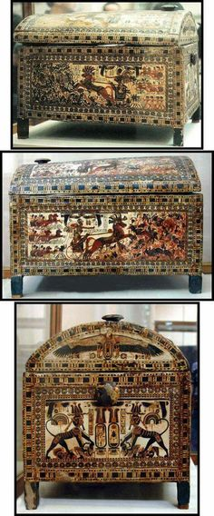 Painted wooden chest of Pharoah Tutankhamun.