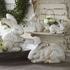 Antiqued Bunny Sculpture