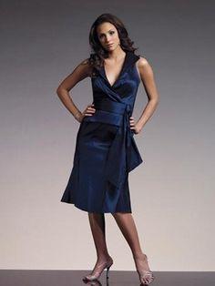 f8c60ba9e9 V-Ausschnitt kurzes dunkelblaues Abendkleid aus Satin Wholesale Wedding  Dresses