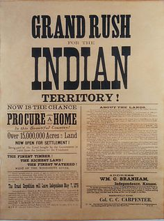 Indian territory land was given away in the Great American Land Rush when the area moved to U.S. Statehood (Oklahoma) ---> I think i don't like this anything.... extermination, like always on history, and we never learn. And the Spnish the first, but I don't understand that some people, today, still fell self-satisfaction about this.