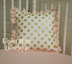 meet acde7 a52a6 Pink and Gold Bumperless Crib Set. Blush Ballet Pink, Peachy Pink and  Metallic