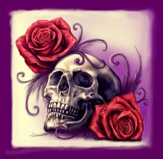 Skull, Roses and Purple feathers by Esantia
