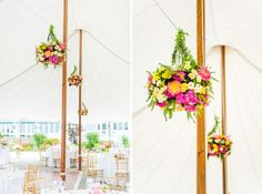 sailcloth tent with floral chandeliers by Emily Carter Floral Design, captured by Justin & Mary