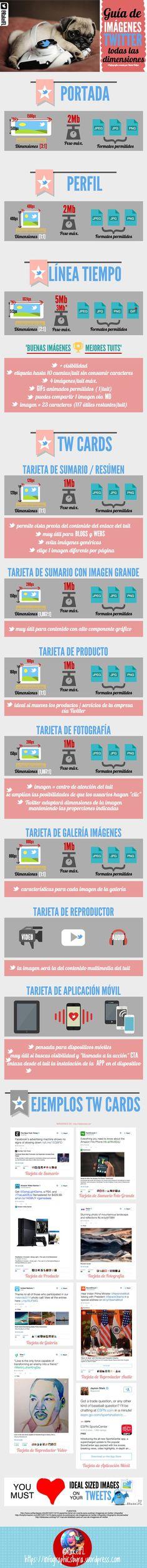 Esta infografía es una completa guía, actualizada y en vigor, de las dimensiones de las imágenes que debemos tener en cuenta para la red social Twitter.
