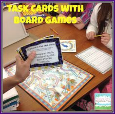 Task Card Corner: Using Board Games to Engage Students with Task Cards!  Students have to answer the card correctly to be able to roll and move their game piece.