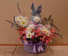 Lilac Bunny Lavender White Daisies Item 231 by PamsDeZines on Etsy