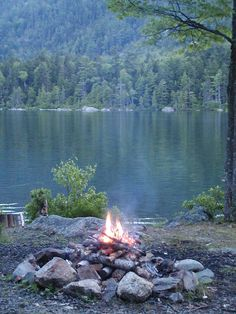 A campfire by a lake in the wilderness.