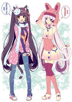 Happy new year Nekomimi anime girls. Cute bunny anime wallpaper.