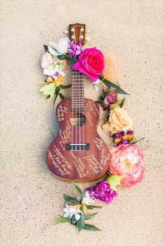Ukulele for a hawaiian beach weddingunique guest book idea. Ukulele for a hawaiian beach wedding Beach Wedding Reception, Hawaii Wedding, Wedding Guest Book, Wedding Ceremony, Hawaiian Wedding Flowers, Summer Wedding, Tropical Wedding Decor, Luau Wedding, Wedding Koozies