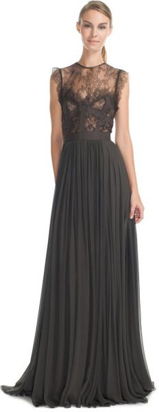 Elie Saab Charcoal Lace and Grosgrain Long Dress in Gray (charcoal)