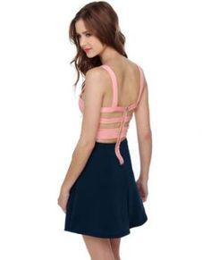 Cute Color Block Dress - Open Back Dress - $40.00