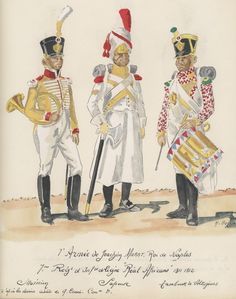 Naples; 7th Line Infantry(Real Africano(Royal Africans), Musician, Sapper & Voltigeur Drummer, 1813-15 by H.Boisselier
