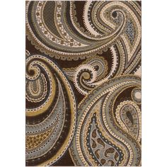 Machine woven, this rug features a plush pile. Colors of brown, blue, gold, and cream accent this area rug.