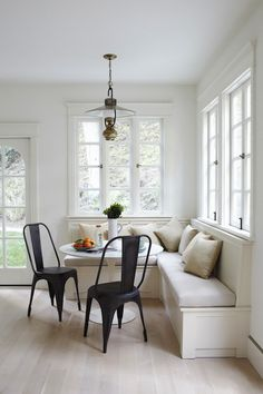 Bleached Hardwood Floors, breakfast nook.