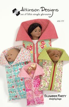 Items similar to Slumber Party Doll Sleeping Bag Pattern by Atkinson Designs on Etsy Doll Sewing Patterns, Bag Patterns To Sew, Style Patterns, Pattern Sewing, Free Pattern, Baby Doll Clothes, Baby Dolls, Reborn Dolls, Reborn Babies