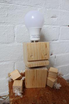Block-Bot Eureka Lamp Wooden Robot Light by KeithBrownWC on Etsy https://www.etsy.com/ca/listing/508596047/block-bot-eureka-lamp-wooden-robot-light