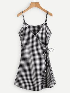 #AdoreWe #ROMWE ROMWE Gingham Print Wrap Self Tie Waist Cami Dress - AdoreWe.com