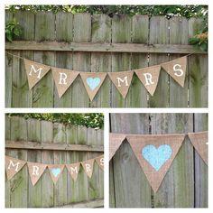 Mr & Mrs Wedding Banner / Burlap Banner for Wedding Decoration or Wedding Photo Prop on Etsy, $28.00