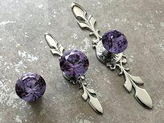 Purple Glass Crystal Knob Rhinestone Dresser Knobs Drawer Knob Pulls Handles Kitchen Cabinet Knobs Door Knob Bling Back Plate ARoseRambling
