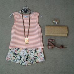effiesinc #Lookoftheday!!! @trinaturk Elberta orange and ivory stripe top, @parkernewyork Everette tropic print high waisted shorts,@sylviabenson long Tony necklace, gold curved bracelet, natural straw clutch, and @chineselaundry Tahiti sandal in brown lesthet.#tropictrend #mixedpatterns #islandgirl #ootd 1w Read more at http://websta.me/n/effiesinc#ofOsrhIA2I5TewOW.99