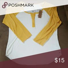 Soft and Sexy AE Henley Bnwt. Off white and mustard. American Eagle Outfitters Tops Tees - Long Sleeve