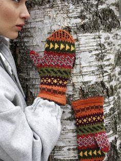Jacquardmönstrade vantar med restgarn Novita 7 Bröder   Novita knits
