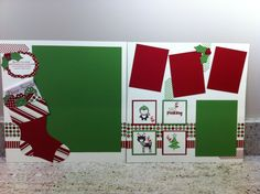 Christmas layout with sock for 1 large; Scrapbook Templates, Scrapbook Sketches, Scrapbook Page Layouts, Wedding Scrapbook, Baby Scrapbook, Scrapbook Cards, Christmas Scrapbook Layouts, Christmas Layout, Scrapbooking Ideas