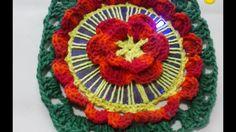 Flor em croche feito com cd ou dvd parte 1