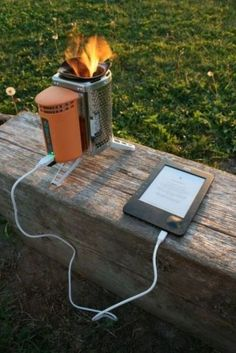 A small wood burning stove which charges your USB products like an iPhone!!