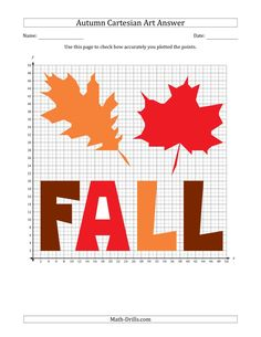 The Autumn Cartesian Art Fall Leaf Design (One Quadrant) Math Worksheet from the Seasonal Math Worksheets Page at Math-Drills.com. Math Drills, Group Work, Math Worksheets, Learning Centers, Teaching Tools, Leaf Design, Autumn Leaves, Fall, Autumn