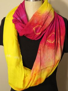 Rayon Magenta and Yellow Infinity Scarf by WhiteWingScarves, $35.00