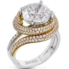 "Simon G. 18K White & Yellow Gold Large Center ""Pave Swirl"" Diamond Engagement Ring"