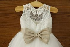 Ivory Lace Flower girl Dress Baby Girl Dress with Navy by deepado, $42.99