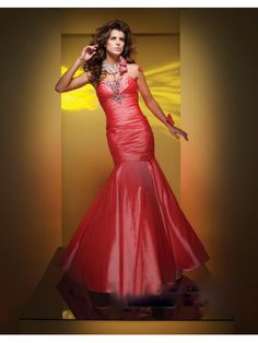 Taffeta Mermaid Strapless Softly Curved Neckline Rouched Bodice Prom Dress