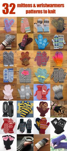 Just Crafty Enough – 32 Mitten and Wristwarmer Patterns to Knit Crochet Mitts, Knitted Mittens Pattern, Knit Mittens, Knitted Gloves, Knit Or Crochet, Knitting Stitches, Knitting Patterns Free, Hand Knitting, Wrist Warmers