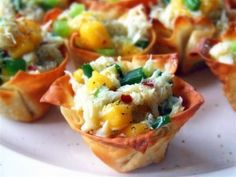 Mango Crab Salad in Crisp Wonton Cups