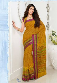 Yellow Colored all over Printed Chanderi Cotton Saree with Thread Jari Border @ Rs. 674 Only http://www.shreedevitextile.com/women/sarees/cotton-sarees/shree-devi/yellow-colored-chanderi-cotton-saree-2004