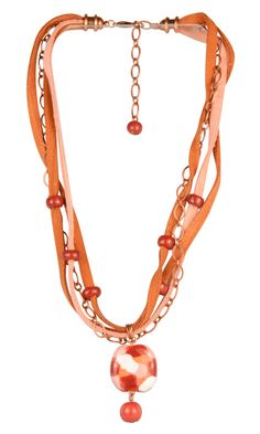 Peony Patch Kazuri Necklace - This beautiful necklace uses Kazuri beads, suede and chain for a festive and unique look.