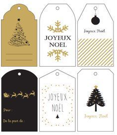 Free Printable : les étiquettes cadeaux de Noël sur le thème noir & or