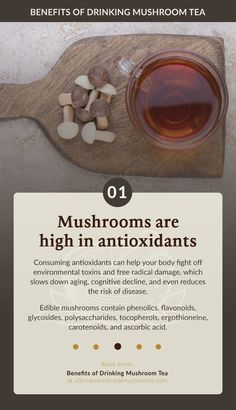 Mushroom tea contain high amounts of antioxidants that helps the body get rid of environmental toxins and free radical damage. Consuming food and beverages rich in antioxidants like mushrooms can help slow down aging and reduce the risk of disease.   Discover more about medicinal mushrooms at ultimatemedicinalmushrooms.com Low Blood Sugar Levels, Lower Blood Sugar, Edible Mushrooms, Stuffed Mushrooms, Mushroom Benefits, Mushroom Tea, Sources Of Dietary Fiber, Organic Market, Mushroom Hunting