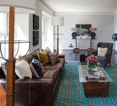 "Dark Hardwood Floors +""leather Sofa"" Living Room Design Ideas, Pictures, Remodel and Decor"