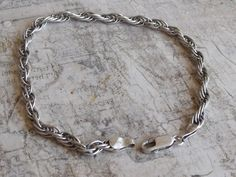 Vintage 1970s Sterling Silver Rope Chain Mens Bracelet Marked HAN Italy
