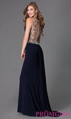 Sleeveless Floor Length Scoop Neck Dress at PromGirl.com