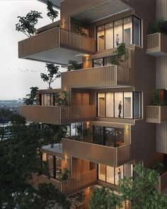 Large balconies with green details 🌿 The 'Apartment Tower'. Designed & visualized by Valérie Derome-Massé (Studio Abstract, from… Architecture Design, Green Architecture, Architectural Design House Plans, Facade Design, Residential Architecture, Exterior Design, Mt Design, Tower Design, Design Hotel