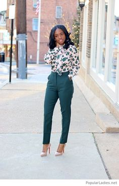Green pants, printed shirt and amazing nude shoes