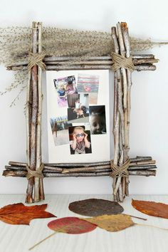 DIY Rustic Photo Frame idea - Rustic home decor makes any space cozier! Give it even more warmth with an easy, inexpensive DIY Rustic Photo Frame using simple, affordable supplies like twigs and twine Twig Crafts, Frame Crafts, Wooden Crafts, Nature Crafts, Cadre Photo Original, Marco Diy, Diy Rustic Decor, Diy Home Decor, Design Origami