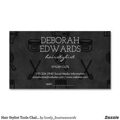Hair Stylist Tools Chalkboard Background Business Card Magnet
