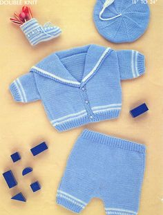 Vintage Digital Knitting Pattern Baby by PrettyPatternsPlease Baby Boy Knitting Patterns, Knitting For Kids, Baby Patterns, Baby Vest, Baby Cardigan, Baby Shower Etiquette, Pram Sets, Suit Pattern, Free Pattern