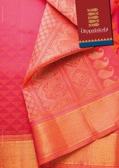 Rose pink jacquard saree with triangle pattern. The pallu of the saree has a combination of designs woven in pure zari.